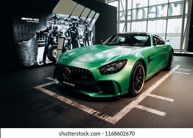 Berlin, August 29, 2018: The new sporty modern Mercedes-Benz AMG GT Turbo V8 is sold in the official Mercedes-Benz dealership in Berlin.