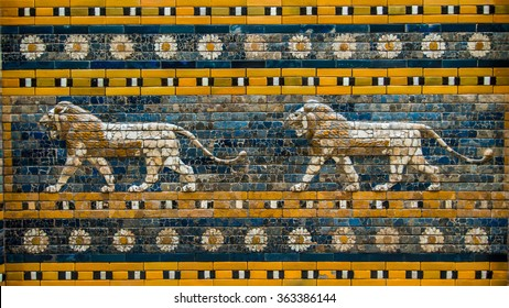 BERLIN - August 31. The Processional Way to the Ishtar Gate. Frieze of lions in relief composed of multicolored glazed bricks in the Pergamon Museum August 31, 2014 in Berlin, Germany