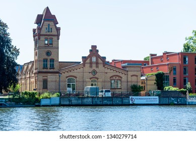 Berlin, Berlin/Germany - 07.23.2018: The Waldorf School South-East in Berlin photographed from the water.