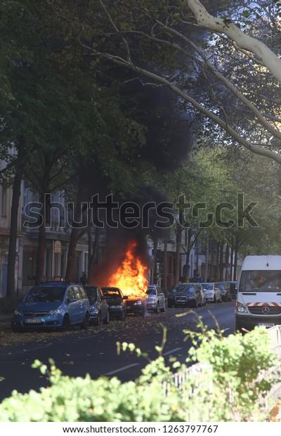 Berlin, Berlin/Germany - 10/20/2018: Car Fire in Berlin Kreuzberg; technical difficulties caused the fire