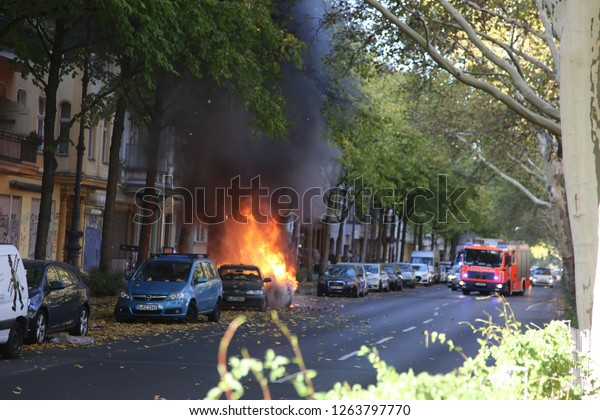 Berlin, Berlin/Germany - 10/20/2018: Car Fire in Berlin Kreuzberg; technical difficulties caused the fire