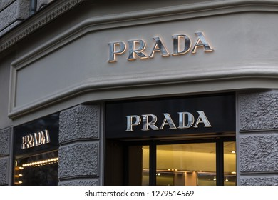 berlin, berlin/germany - 23 12 18: prada store sign in berlin germany