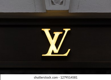 berlin, berlin/germany - 23 12 18: louis vuitton store sign in berlin germany