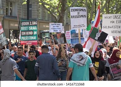 Berlin, Berlin/Germany - Juni 1st 2019: Al-Quds March in Berlin