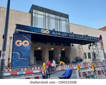 Berlin, Berlin/Germany - November 25, 2018: GQ Men of the Year Award Show / Construction of Red Carpet Event at the Komische Oper Berlin (Opera House) / Behrenstrasse