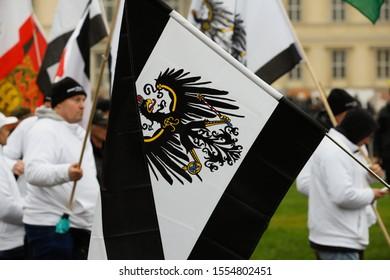Berlin, Berlin/Germany, November 9/2019. Members of the Reich Citizens' Movement organize a lift at the Lustgarten in the city of Berlin. They denie the existence of the Federal Republic of German