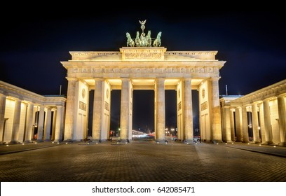 Berlin Brandenburger Tor Gate at night is one of the most famous tourist attraction in Berlin, Germany
