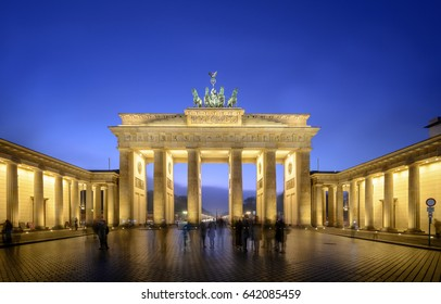 Berlin, Brandenburger Tor Gate at twilight is one of the most famous tourist attraction in Berlin, Germany