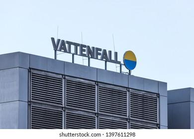 berlin, brandenburg/germany - 12 02 19: vattenfall power plant sign in berlin germany
