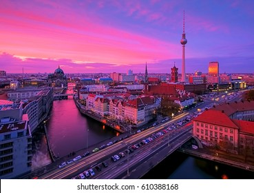 Berlin by night with TV tower and cathedral