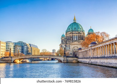 Berlin Cathedral (Berliner Dom) and Museum Island (Museumsinsel) reflected in Spree River, Berlin, Germany, Europe.