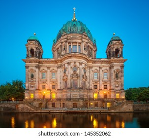 Berlin Cathedral (Berliner Dom) at Summer Night with Spree River, famous landmark in Berlin City, Germany at night