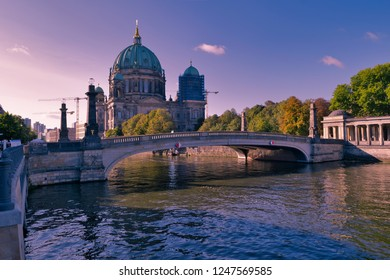 Berlin cathedral Dom at the museum island or Museumsinsel of Spree river during sunrise. Most beautiful travel destination of Europe. Old European buildings architectures. Capital city of Germany.