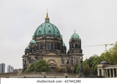 Berlin Cathedral on cloudy day in Berlin Germany.