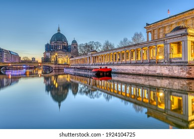The Berlin Cathedral on the Museum Island and the river Spree before sunrise