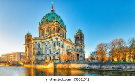 Berlin Cathedral from the river spree in the early morning