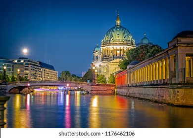 Berlin Cathedral and the Spree at night, Berlin, Germany