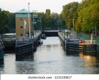 BERLIN, CHARLOTTENBURG / GERMANY - AUGUST 25 2015: Typical sluice pitcher for boats in Berlin.