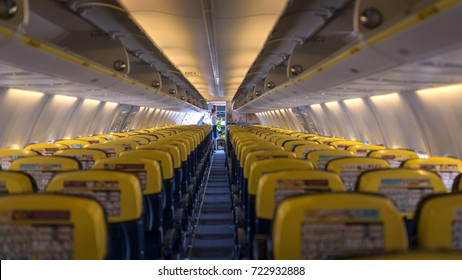 BERLIN - CIRCA JULY 2017: Ryanair Jet airplanes interior empty view. Ryanair is the biggest low-cost airline company in the world.
