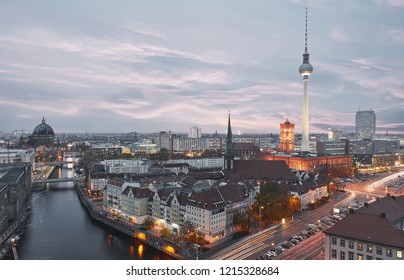 Berlin City skyline in the evening with TV tower and Nikolaiviertel