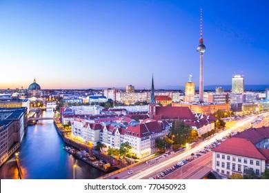 Berlin city skyline at sunset