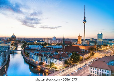 Berlin cityscape with cathedral and Television-Tower at blue hour
