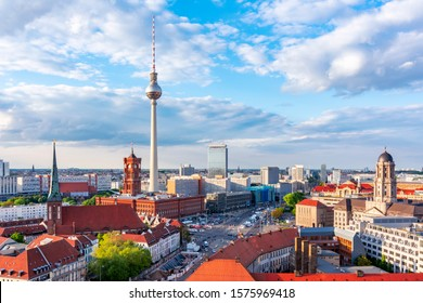 Berlin cityscape with Television tower and Red Town Hall (Rotes Rathaus) on Alexanderplatz, Germany