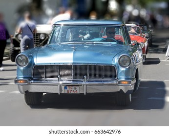 BERLIN CLASSIC CAR SHOW – JUNE 18, 2017: Classic blue Lincoln Continental car at the Classic Cars Show in Berlin