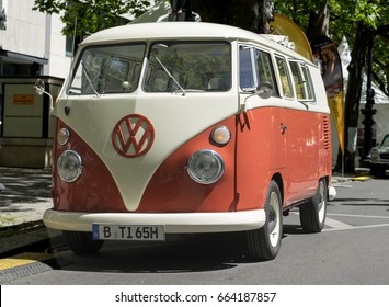 BERLIN CLASSIC CAR SHOW – JUNE 18, 2017: Classic orange and beige VW Van at the Classic Cars Show in Berlin