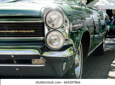 BERLIN CLASSIC CAR SHOW – JUNE 18, 2017: Classic green Pontiac Bonneville car close up at the Classic Cars Show in Berlin