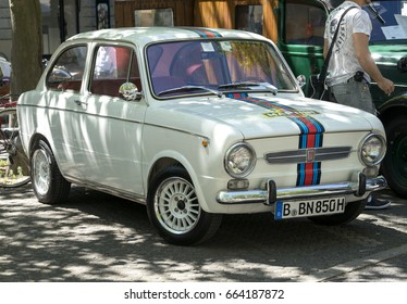 BERLIN CLASSIC CAR SHOW – JUNE 18, 2017: Classic white Fiat 500 Martini at the Classic Cars Show in Berlin