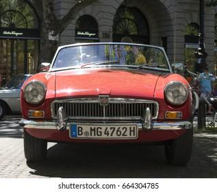 BERLIN CLASSIC CAR SHOW – JUNE 18, 2017: Classic red MG convertible car