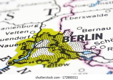 Berlin, a close up shot of capital of Germany on map.