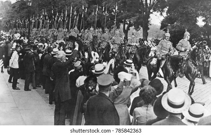 Berlin crowd cheers German troops heading for the front in August 1914, at the start of World War 1