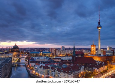 Berlin at dawn with a dramatic sky