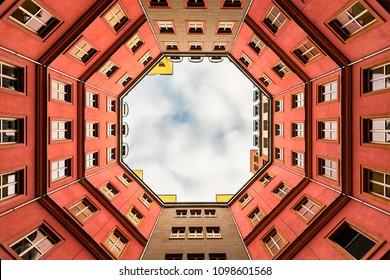 BERLIN - DEC 2017: Inner Courtyard of typical Berlin appartment building, Quartier Schützenstraße, Berlin Mitte