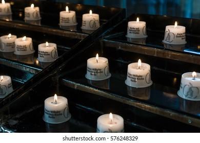 BERLIN - DECEMBER 08, 2016: The funeral candles in the Kaiser Wilhelm Memorial Church.