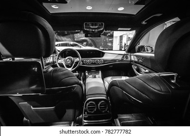 BERLIN - DECEMBER 21, 2017: Showroom. Interior of the full-size luxury car Mercedes-Benz S-Class S350d (W222 Facelift). Black and white. Since 2017.