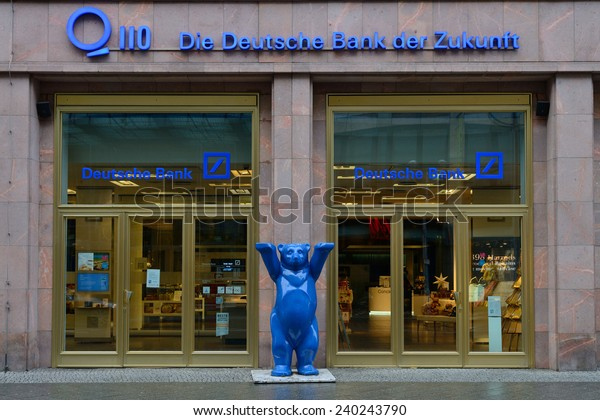 BERLIN - DECEMBER 26: The German Bank (Deutsche bank) office on 26 December 2014 in Berlin, Germany. It has more than 100,000 employees in over 70 countries.