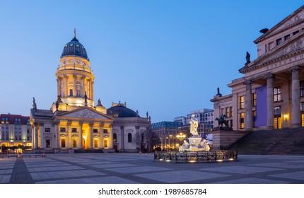 Berlin - The Deutscher Dom church and Gendarmenmarkt square at dusk. - Shutterstock ID 1989685784