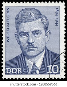 Berlin, East Germany - 1974: Wilhelm Florin (1894-1944), German Communist Party (KPD) politician and campaigner in opposition to National Socialism.