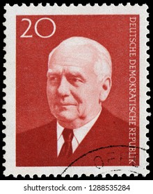 Berlin, East Germany - Feb.28, 1959: portrait of President Wilhelm Pieck (1876-1960), German politician and Communist.First President of the German Democratic Republic.