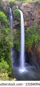 The Berlin Falls, a waterfall surrounded by lush forest in Mpumalanga, South Africa