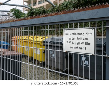 Berlin; february 07, 2020, closed and fenced space for rubbish containers of tenants of a social housing