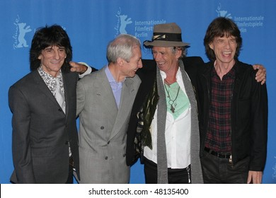 BERLIN - FEBRUARY 07: Rolling Stones singer Mick Jagger   and Keith Richards pose  at the 'Shine A Light' Photocall as part of the 58th Berlinale Film Festival  on February 7, 2008 in Berlin, Germany