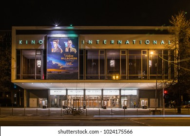 BERLIN - FEBRUARY 10, 2018: Kino International film theater in Berlin. It is located on Karl-Marx-Allee in former East Berlin and hosted premieres until the fall of the Berlin Wall in 1989.