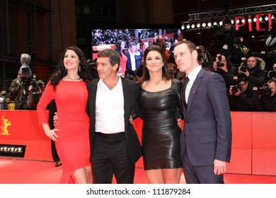 BERLIN - FEBRUARY 15: Natascha Berg, Antonio Banderas, Gina Carano and Michael Fassbender attend the 'Haywire' Premiere at the Berlin Film Festival at the Berlinale on February 15, 2012 in Berlin.