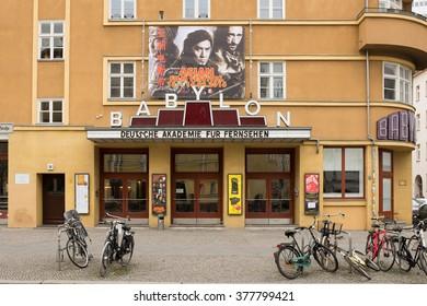 "BERLIN - FEBRUARY 16:: The ""Babylon"" cinema facade in Berlin Mitte on February 16, 2016."