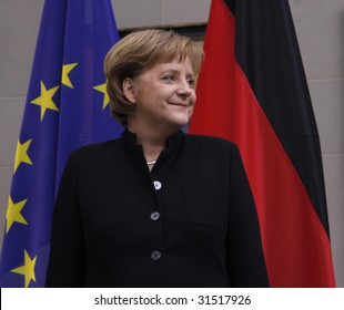 BERLIN, FEBRUARY 18, 2008: German Chancellor Angela Merkel smiles at the reception for the Dilpomatic Corps in the Chanclery, Berlin.