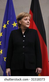 BERLIN, FEBRUARY 18: German Chancellor Angela Merkel at a reception for the Dilpomatic Corps in Berlin on February 18, 2008